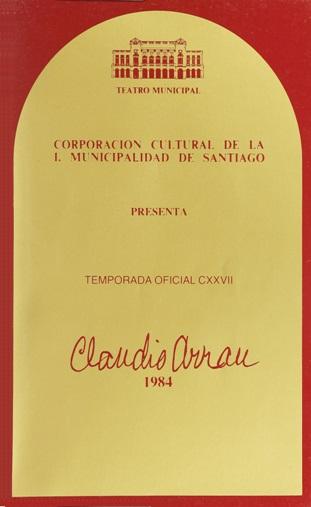 Portada de un programa de sala de 1984