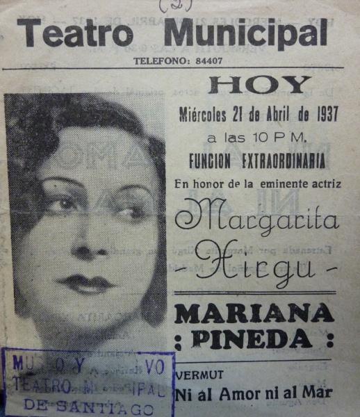FOTO: Portada del programa de sala de María Pineda, interpretado por Margarita Xirgú en 1937. Ref: P1060292 Colección de Programas de Sala, Centro de Documentación de las Artes Escénicas, Municipal de Santiago.