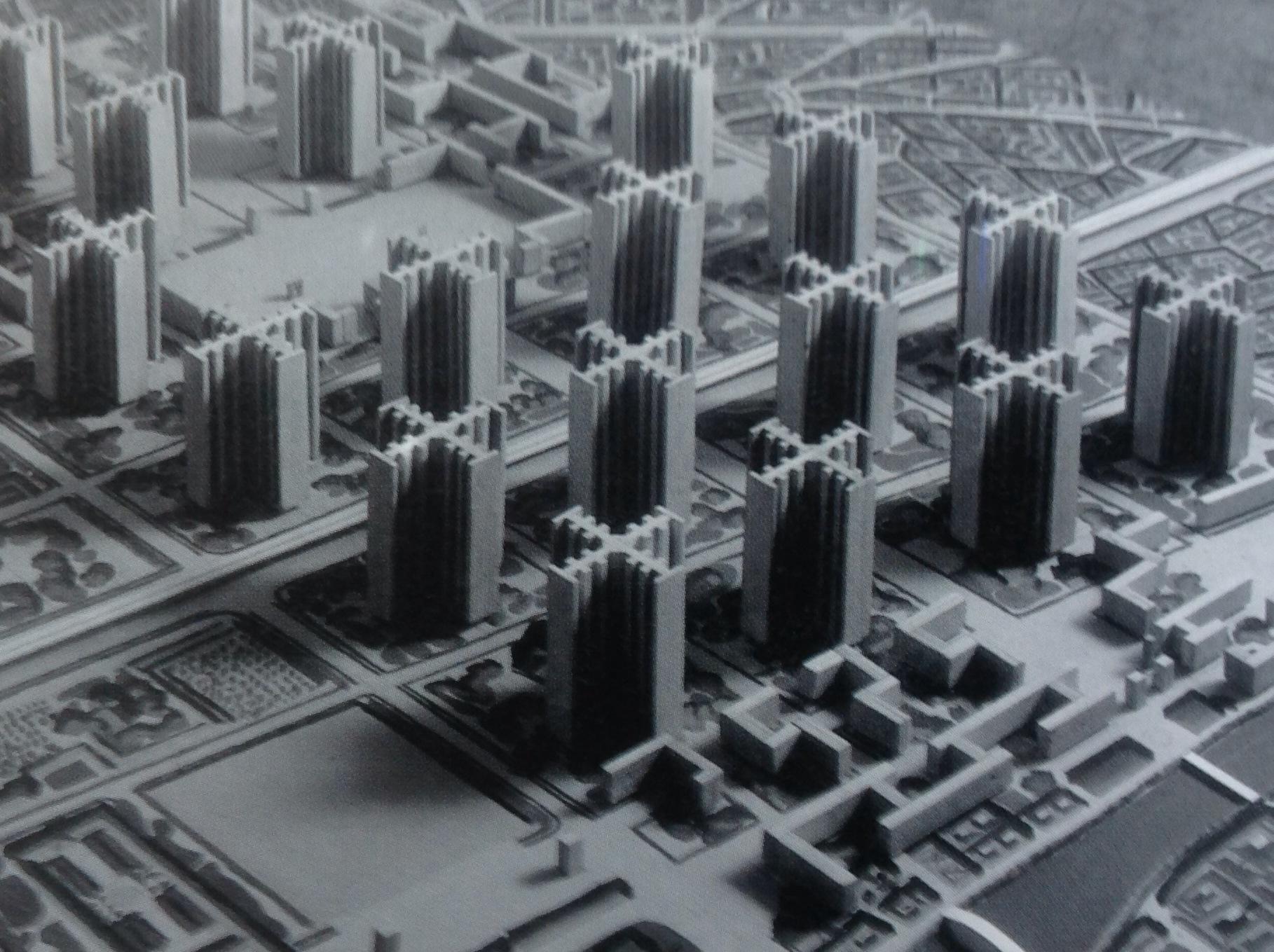 Modelo del Plan Voisin para París, de Le Corbusier. Fue presentado en 1925, en el Nouveau Esprit Pavilion.